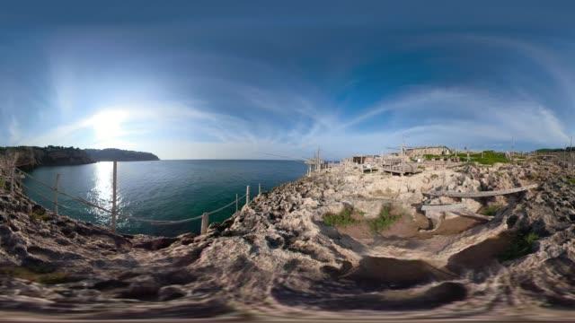 360 vr / trabucco fishing machine at rocky coast at the adriatic sea - adriatic sea stock videos & royalty-free footage