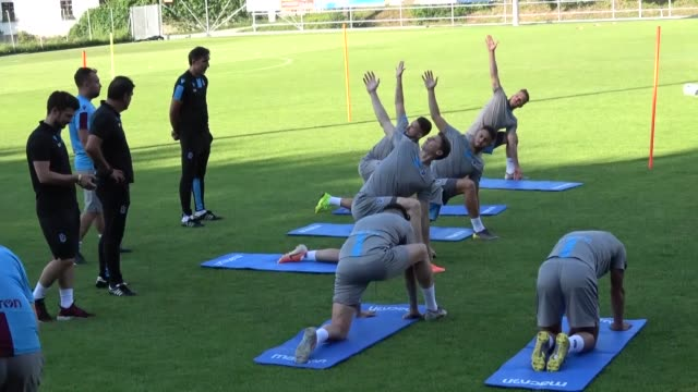 Trabzonspor players take part in a training session led by head coach Unal Karaman in Linz Austria on July 21 2019 Trabzonspor chairman Ahmet Agaoglu...