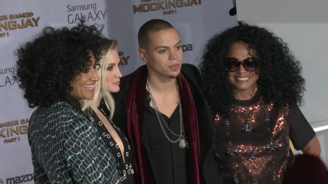tracee ellis ross ashlee simpson evan ross and diana ross at the hunger games mockingjay part 1 los angeles premiere at nokia theatre la live on... - escada stock videos & royalty-free footage
