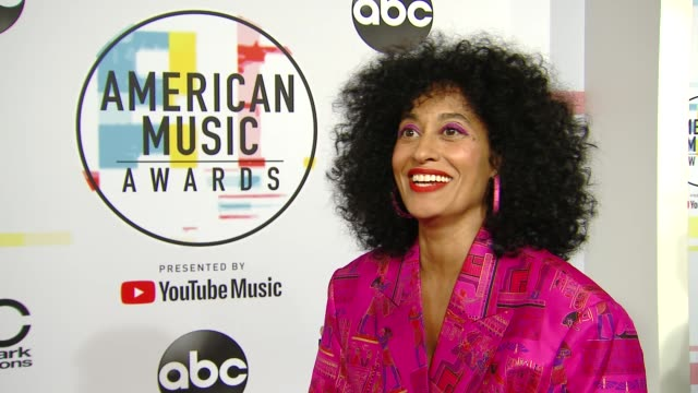 interview tracee ellis ross on hosting the show at the 2018 american music awards red carpet roll out press day at microsoft theater on october 8... - american music awards stock videos & royalty-free footage