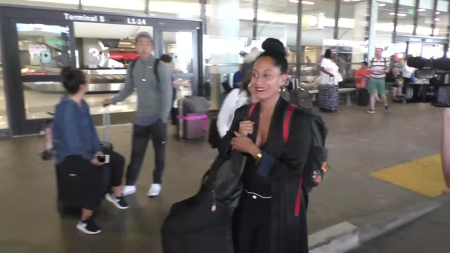 INTERVIEW Tracee Ellis Ross on President Obama being a fan of 'Blackish' at Los Angeles International Airport at Celebrity Sightings in Los Angeles...