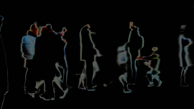 traces, marks, impressions, moments : crowd. black background - winter, london (fade out) - fade out stock videos & royalty-free footage