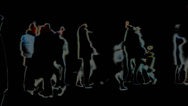 traces, marks, impressions, moments : dense crowd, black background - winter, london (fade in/out) - fade out stock videos & royalty-free footage