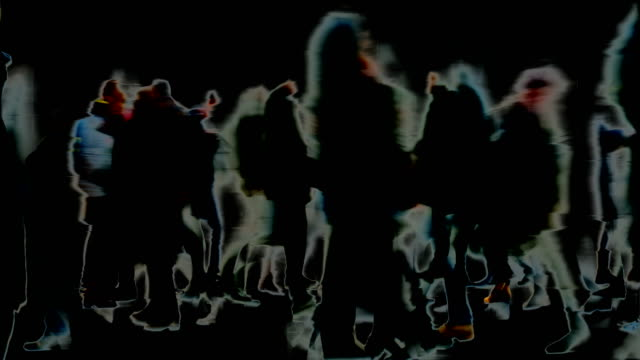 traces, marks, impressions, moments : huge crowd, black background - winter, london (fade in/out) - fade out stock videos & royalty-free footage