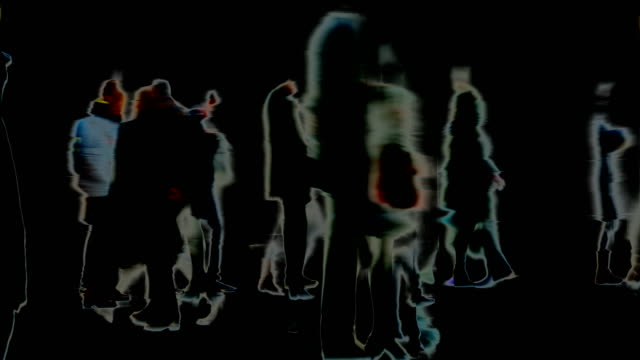 traces, marks, impressions, moments : loose crowd, black background - winter, london (fade in/out) - fade out stock videos & royalty-free footage