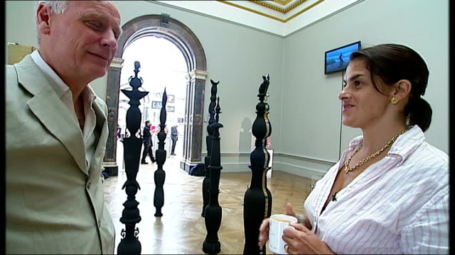 vídeos de stock, filmes e b-roll de tracey emin curates royal academy exhibition emin interview sot explains why she had signs on shocking nature of work put up/ last thing i want is... - royal academy of arts