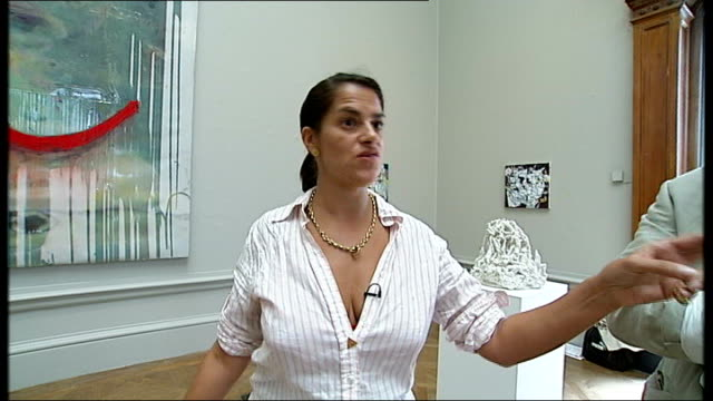 vídeos de stock, filmes e b-roll de tracey emin curates royal academy exhibition england london royal academy of arts int artist tracey emin pointing out different works of art in... - royal academy of arts