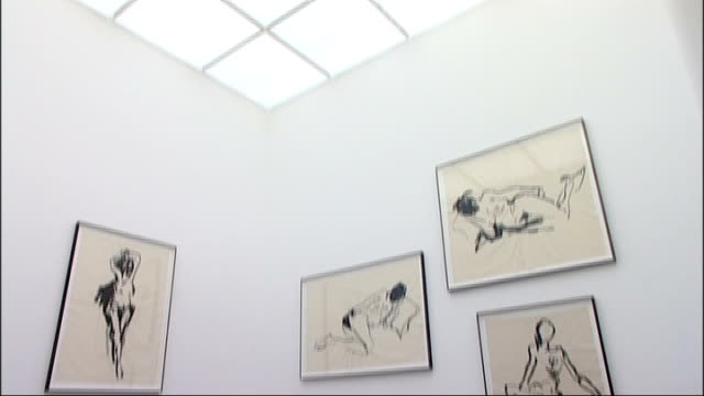 vídeos de stock, filmes e b-roll de tracey emin new exhibition at white cube gallery england london white cube gallery int framed b/w painting by tracey emin on display tracey emin... - model t