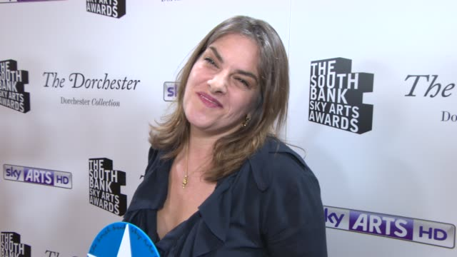 INTERVIEW Tracey Emin on winning an award and Damien Hirst at South Bank Sky Arts Award at Dorchester Hotel on January 27 2014 in London England