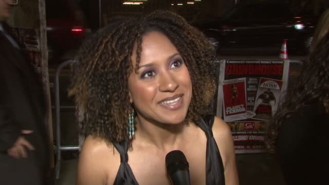 tracie thoms on her character in the 'death proof' segment on people being hungry for the new ideas quentin tarantino and robert rodriguez bring to... - theater industry stock videos and b-roll footage