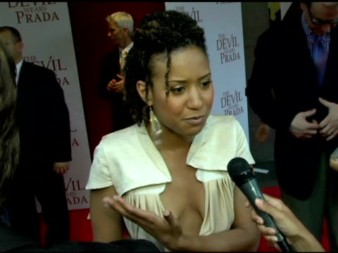 tracie thoms on what she's wearing her character in the movie some movie plot tyrannical bosses her first several jobs and having fun during... - amc loews stock videos and b-roll footage