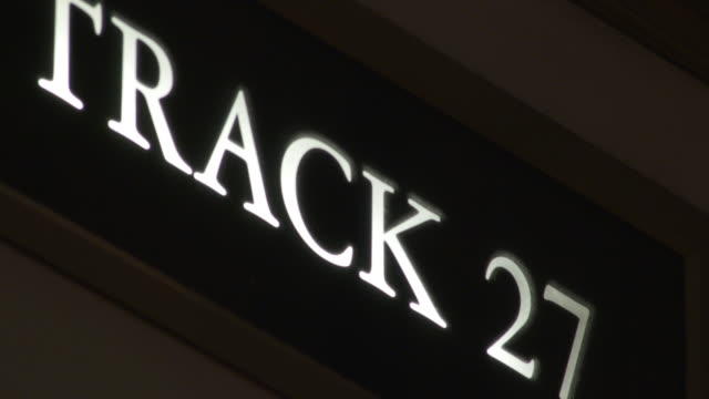 track 27 sign in grand central terminal in mahattan - western script stock videos & royalty-free footage