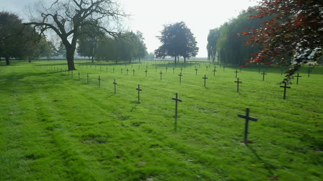 track across german ww1 cemetery, france - war stock-videos und b-roll-filmmaterial