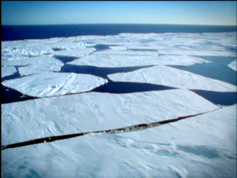 Track across melting sheets of ice in Arctic Ocean