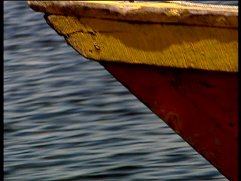 track alongside helm of wooden boat as it sails guatemala - helm stock videos and b-roll footage