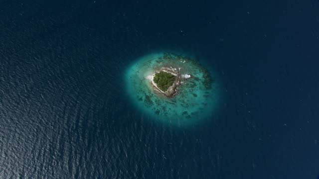 track and zoom out over tropical islet, rangiroa, french polynesia - zoom out stock-videos und b-roll-filmmaterial