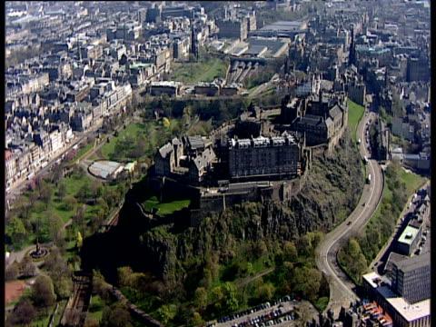 track around edinburgh castle and surrounding city edinburgh - edinburgh castle stock videos & royalty-free footage