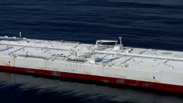 Track around huge oil supertanker, Pacific Ocean