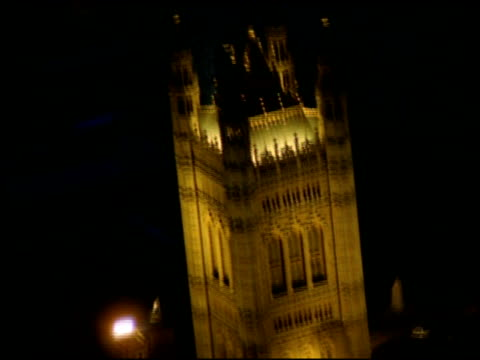track around illuminated victoria tower, palace of westminster - victoria tower stock videos & royalty-free footage