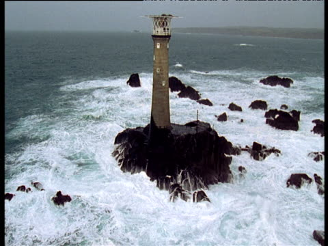 track around longships lighthouse, cornwall - lands end cornwall stock videos and b-roll footage