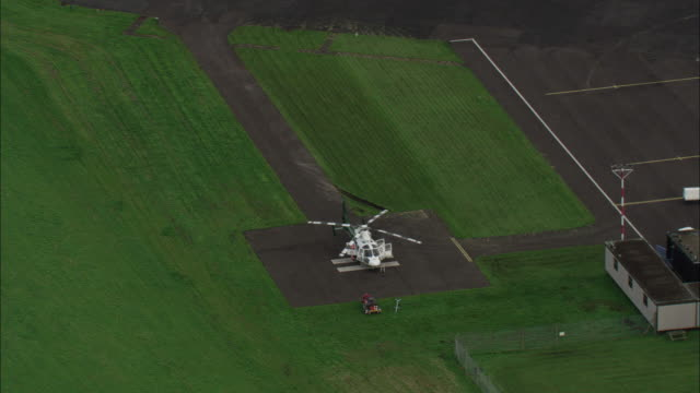 Track around Northumberland air ambulance on launch pad Available in HD.