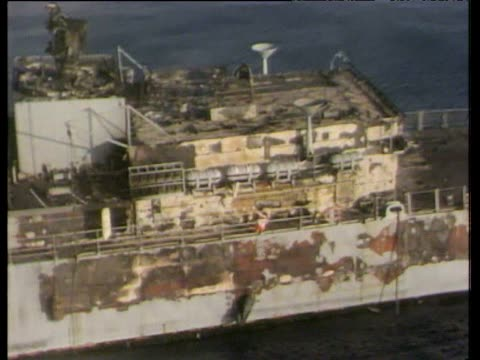 track around severe damage caused by exocet missile to hms sheffield during falklands conflict; 7 may 82 - sheffield stock videos & royalty-free footage