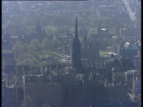 Track around spire of The Hub and surrounding city Edinburgh