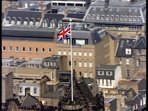 Track around Union Flag flying from top of Edinburgh Castle Edinburgh