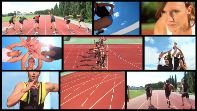hd loop montage: track athletics - video wall stock videos & royalty-free footage