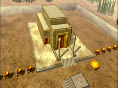 track backwards from computer graphic reconstruction of king solomon's temple israel - wiederaufbau stock-videos und b-roll-filmmaterial