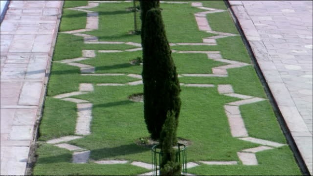 track backwards over lawn in garden of taj mahal, agra - agra stock videos and b-roll footage