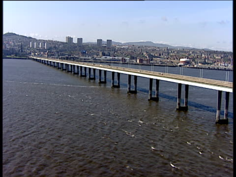 track forward along tay road bridge dundee - dundee scotland stock videos & royalty-free footage