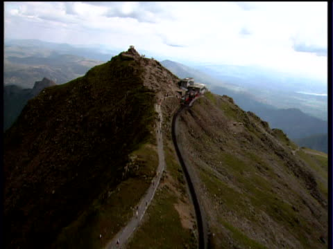 track forward along track to peak of mount snowdonia. snowdonia national park - snowdonia stock videos & royalty-free footage