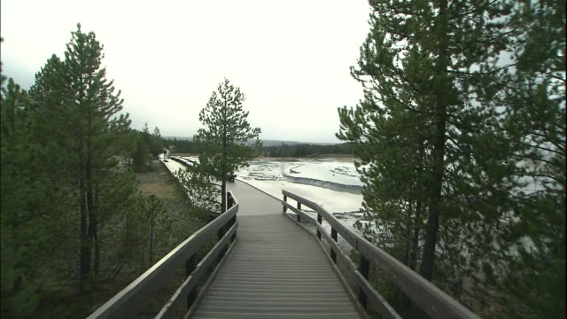 track forward along wooden walkway towards eruption of great fountain geyser, yellowstone national park, wyoming - western script stock videos & royalty-free footage