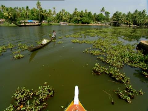 track forward from boat along river passing man rowing narrow wooden boat kerala - narrow stock videos & royalty-free footage