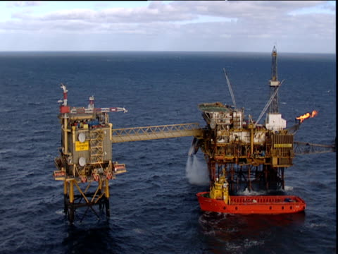 Track forward from helicopter coming into land on oil rig North Sea