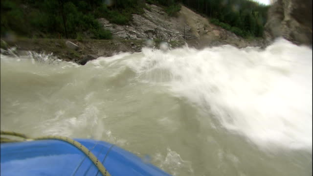 Track forward from raft down rapids of Kicking Horse River, Canadian Rocky Mountains Park, Canada