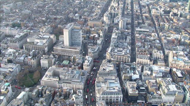 Track forward over city centre to Oxford Circus London Available in HD.