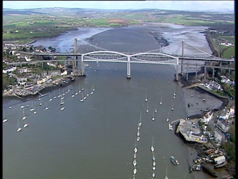 Track forward over Tamar Estuary to Royal Albert Bridge and Tamar Road Bridge linking Devon and Cornwall