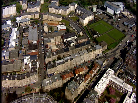 Track forward over tenements and streets Edinburgh