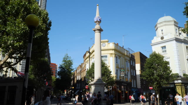 Track forward to the column of sundials at Seven Dials, Covent Garden