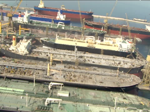 Track forwards over huge tankers in harbour Dubai