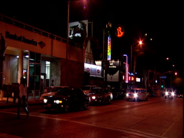 track from car past rainbow and roxy nightclubs continuing along strip sunset strip los angeles - sunset boulevard los angeles stock videos & royalty-free footage