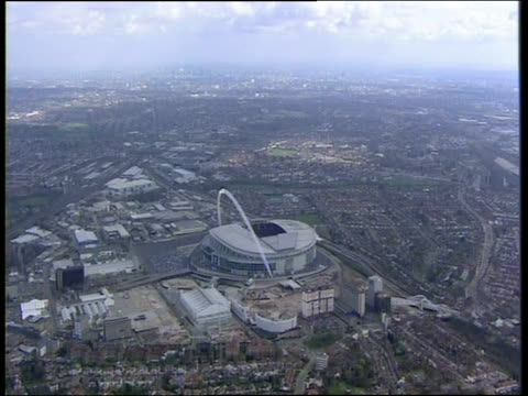 track high above wembley stadium london - wembley stock videos & royalty-free footage