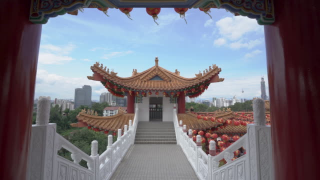 track in shot of chinese temple in malaysia - royalty stock videos & royalty-free footage