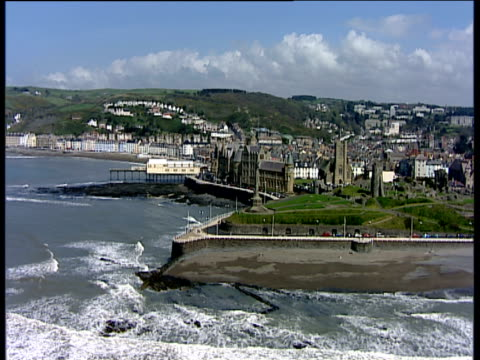 track left along seafront aberystwyth - aberystwyth stock videos & royalty-free footage