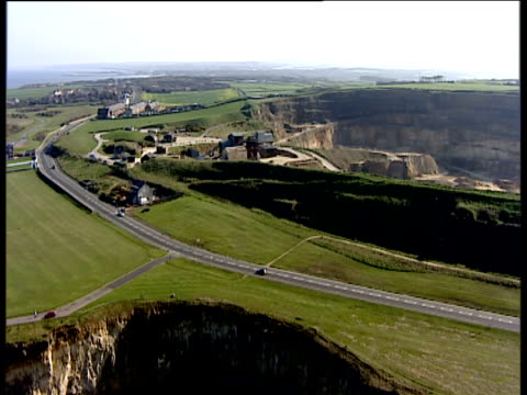 track left alongside marsden quarry south shields england - south shields stock videos & royalty-free footage
