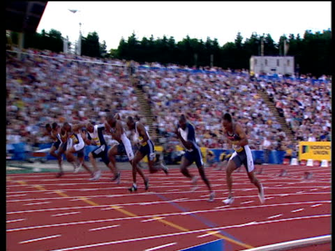 track left as asafa powell wins men's 100m final 2004 crystal palace athletics grand prix london - championships stock videos & royalty-free footage