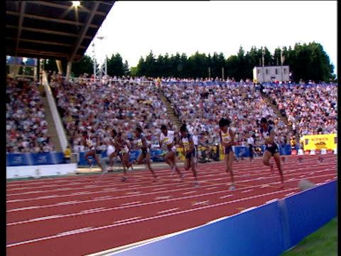 track left as women's 100m is won by veronica campbell 2004 crystal palace athletics grand prix london - championships stock videos and b-roll footage