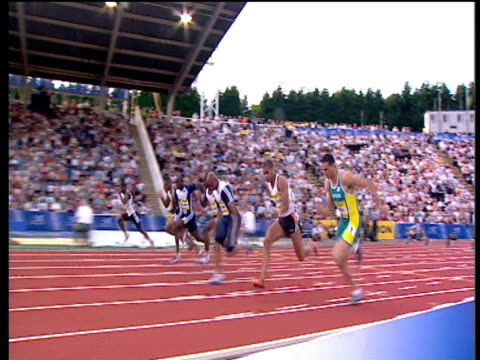 track left following maurice greene winning men's 100m heat 2 2004 crystal palace athletics grand prix london - dynamics stock videos and b-roll footage